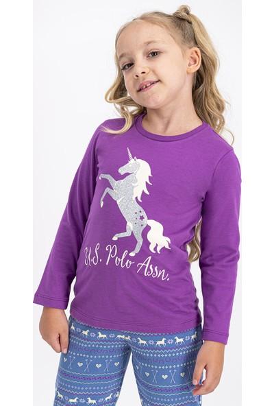 U.S. Polo Assn Lisanslı Menekşe Kız Çocuk Pijama Takımı