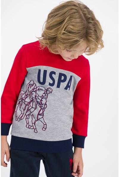U.S. Polo Assn Lisanslı Açık Kırmızı Erkek Çocuk Eşofman Takımı