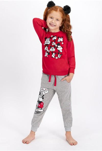 Minnie Mouse Lisanslı Açık Kırmızı Kız Çocuk Eşofman Takımı
