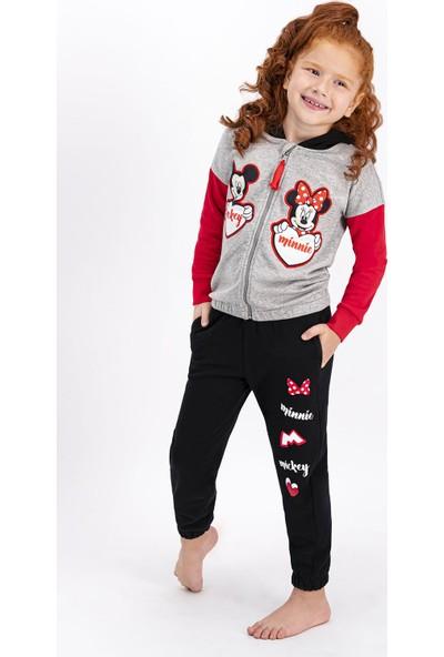 Minnie Mouse Lisanslı Grimelanj Kız Çocuk Kapüşonlu Eşofman Takımı