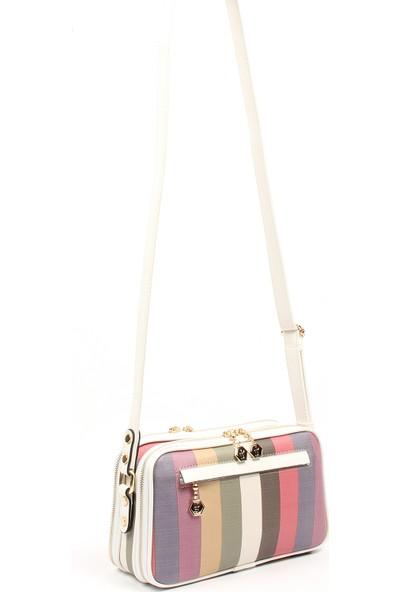 Silver & Polo Kadın Postacı Çantası 899-34154 Çapraz Kadın Çantası M137 D.Mix-Mat Beyaz