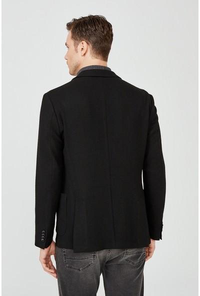 AVVA Erkek Siyah Kırlangıç Yaka Düz Slim Fit Torba Cepli Ceket A02Y4015