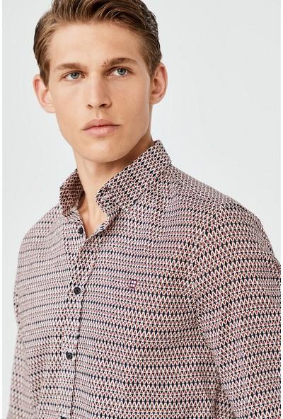AVVA Erkek Kiremit Baskılı Alttan Britli Yaka Slim Fit Gömlek A02Y2106