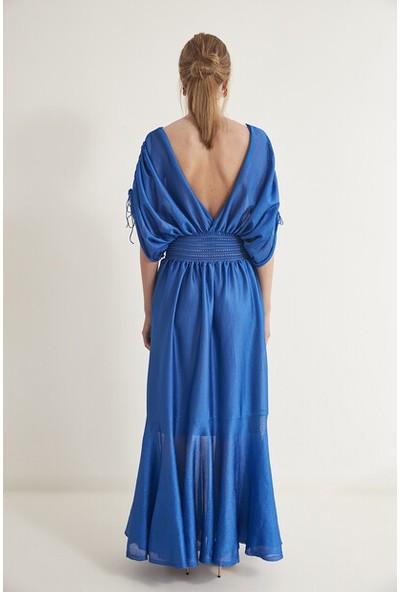Join Us V Yaka Volanlı Triko Elbise