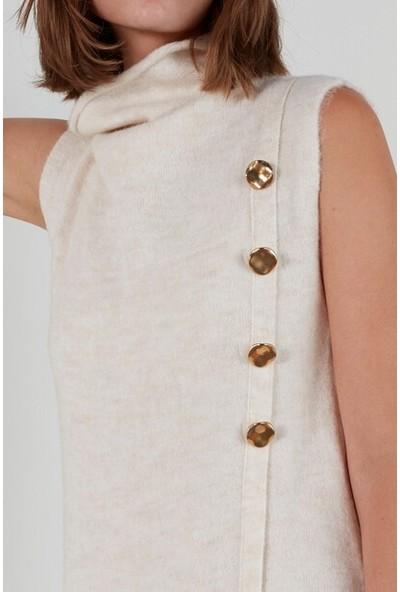 Join Us Düğmeli Kolsuz Degaje Yaka Triko Elbise