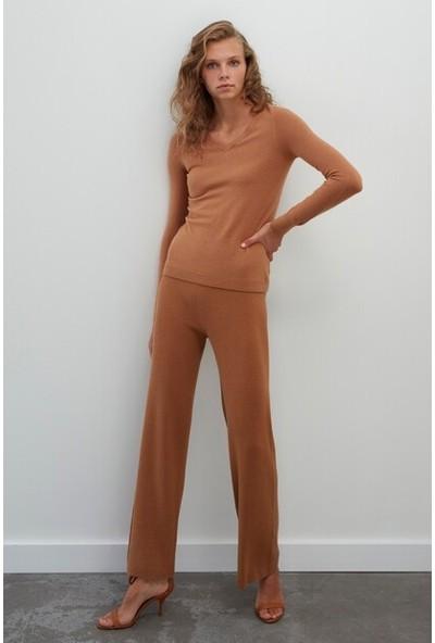Join Us Kadın Dikişsiz Whole Garment Ribana Beli Lastikli Triko Pantolon