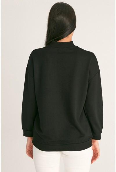 FullaModa Mood Baskılı Sweatshirt