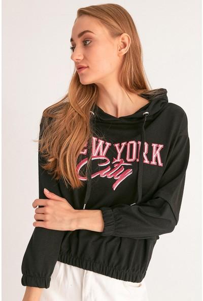 FullaModa New York Baskılı Kapüşonlu Sweatshirt
