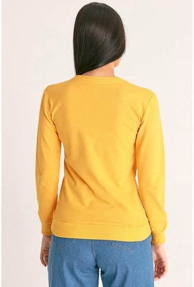 FullaModa Real Baskılı Sweatshirt