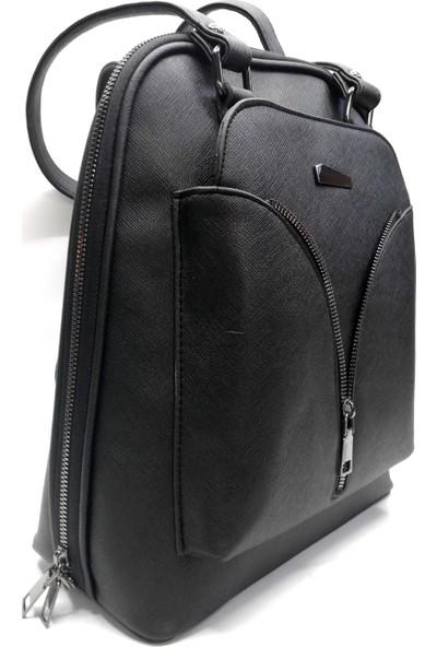 Cascades Leather Siyah Renk Ayarlanabilir Saplı Kadın Sırt Çantası