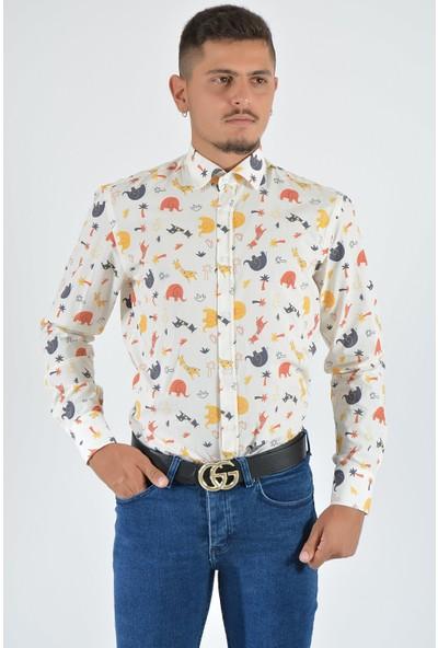 Terapi Men Erkek Desenli Uzun Kollu Gömlek 20Y-4300487-01 Beyaz