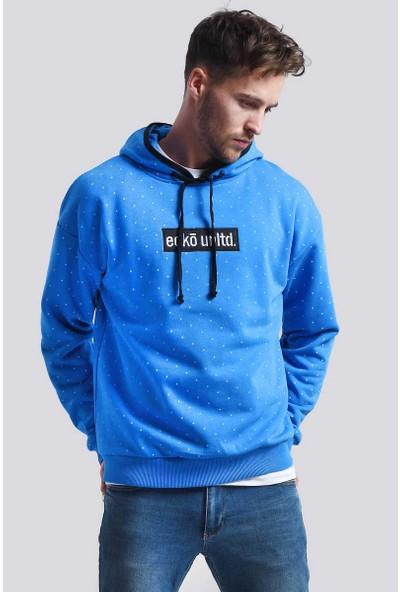 Ecko Unltd Chicago Hoodie Mavi Erkek Baskılı Ve Nakışlı Kapüşonlu Sweatshirt
