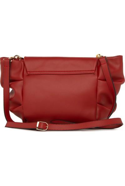Bagmori Kırmızı Yandan Pilili Askılı Çanta