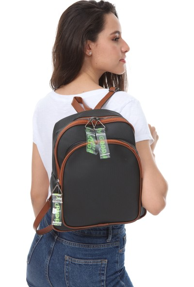 Rakkoo Siyah-Kahverengi Kadın Şeffaf Kolon Detaylı İki Bölmeli Sırt Çantası LOLINA1554