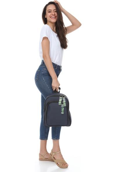Rakkoo Lacivert Kadın Şeffaf Kolon Detaylı İki Bölmeli Sırt Çantası LOLINA008554
