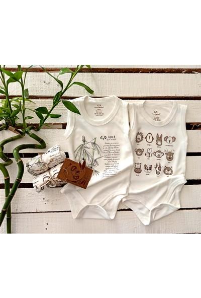 Coco&bamboo 2'li Ekru Bambu Kolsuz Body