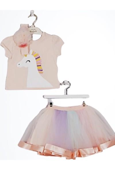 Serkon Kız Çocuk Bandanalı Unicornlu Tütülü 3'lü Takım