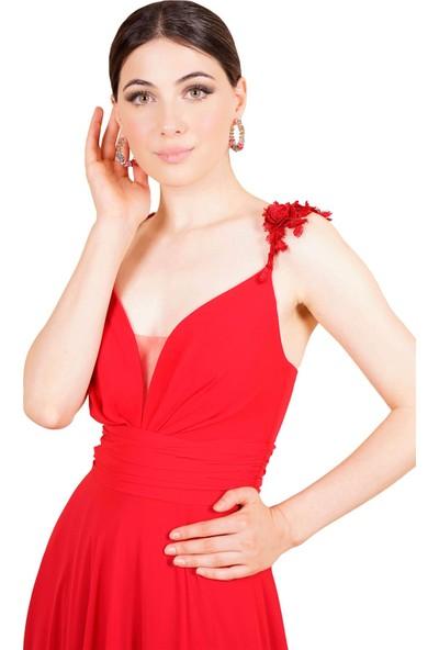SpringStore Kırmızı Çiçek Askılı Yırtmaçlı Abiye
