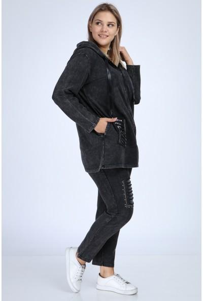 Mia Butik Kapşonlu Pul Paletli % 100 Pamuklu Eşortman Takımı 44 Siyah