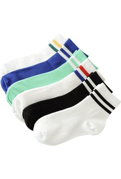 Çorapmanya 6' Lı Paket Renkli Çizgili Pamuklu Kolej Tenis Çorap