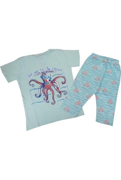 Feyzamavm Ahtapotlu Yeşil Kısa Kollu Kaprili Kız Çocuk Pijama