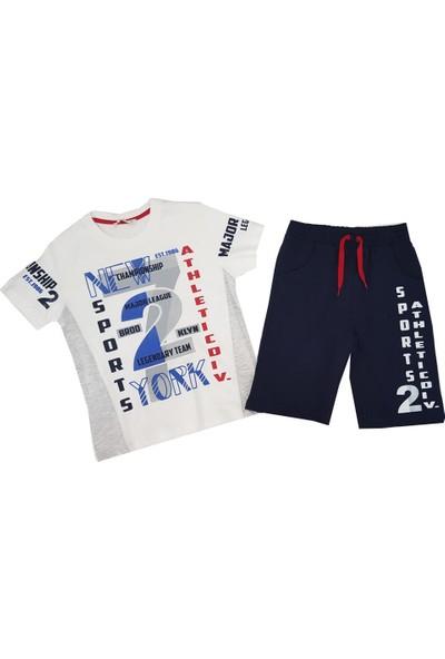 Feyzamavm Sport 2 Baskılı Beyaz-Lacivert Erkek Çocuk Takım