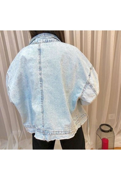 Onesize Fashion Kadın Açık Mavi Oversize Crop Kot Ceket