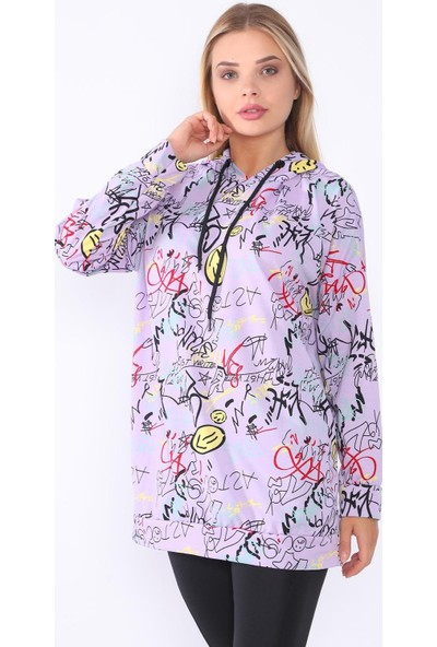 Alışveriş Sokağı Desenli Kapüşonlu Renk Kadın Sweatshirt
