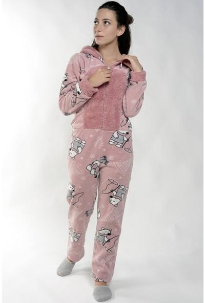 Pijama Evi Bear Desenli Kadın Polar Peluş Tulum Pijama Takımı