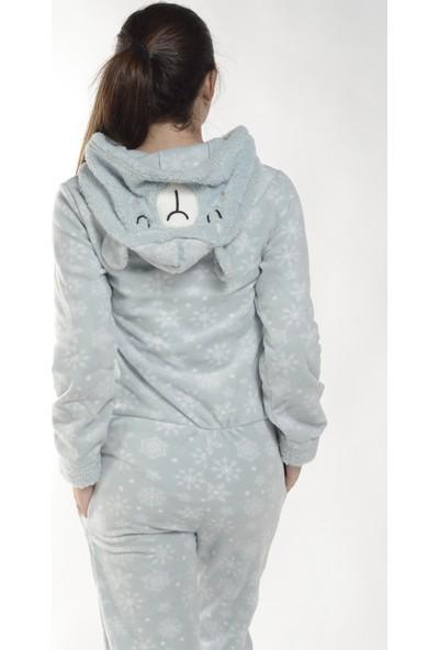 Pijama Evi Kartanesi Desenli Kadın Polar Peluş Tulum Pijama Takımı