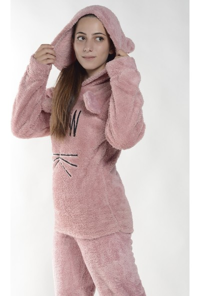 Pijama Evi Meow Desenli Tam Peluş Pijama Takımı