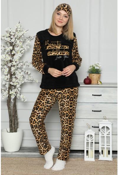 Pijama Evi Siyah Leopar Desenli Kadın Peluş Pijama Takımı