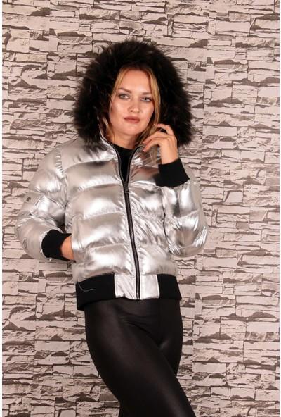 Redpoint Suni Deri (Faux Fur) Parlak Kapişonlu Trikolu Mont Gümüş L