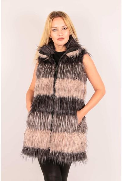 Redpoint Suni Kürk (Faux Fur) Çok Renkli Uzun Tüylü Yelek Çok Renkli XL