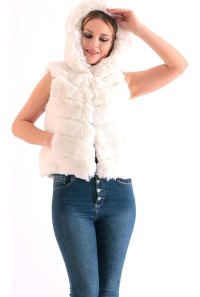 Redpoint Suni Kürk (Faux Fur) Kapşonlu Yelek Beyaz L