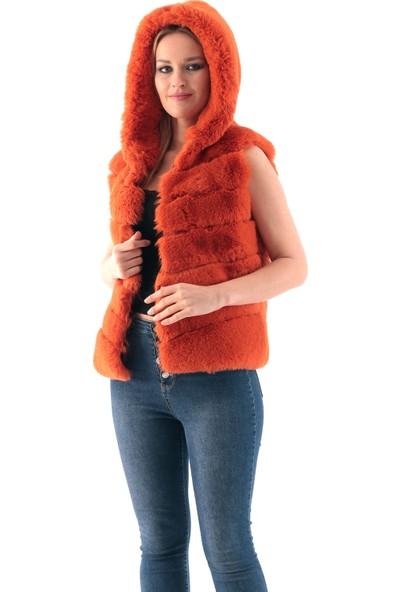 Redpoint Suni Kürk (Faux Fur) Kapşonlu Snap Düğmeli Yelek Turuncu XL