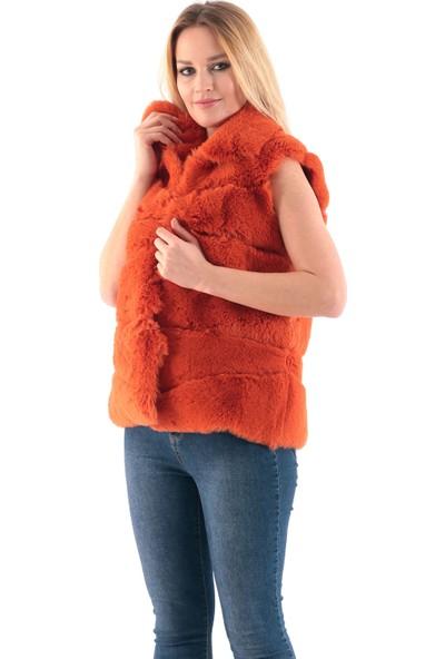 Redpoint Suni Kürk (Faux Fur) Snap Düğme Kapamalı Yelek Turuncu XL