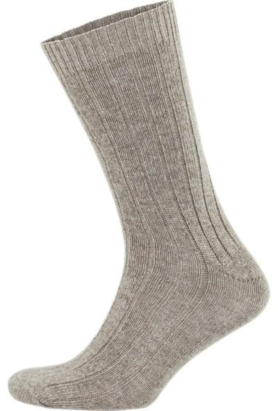 Alpaka Doğal Yün Ince Örgü Kahve Bej Soft Yün Çorap 4 Çift