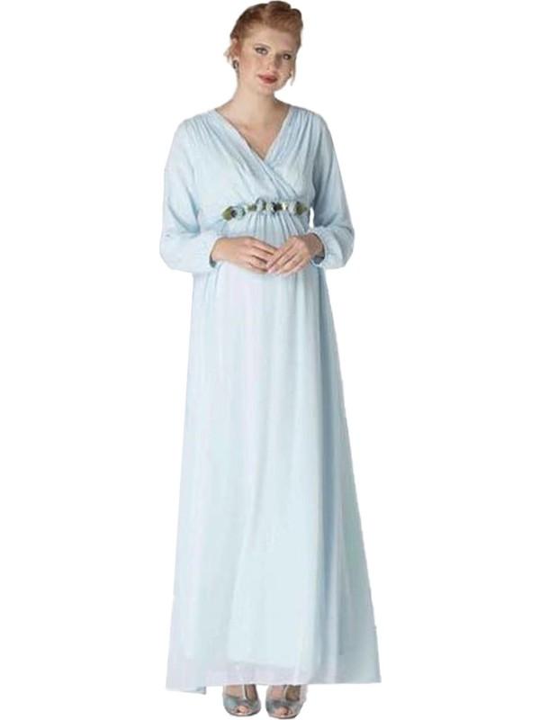 Entarim Şifon Hamile Baby Shower Elbise 6002Emavi