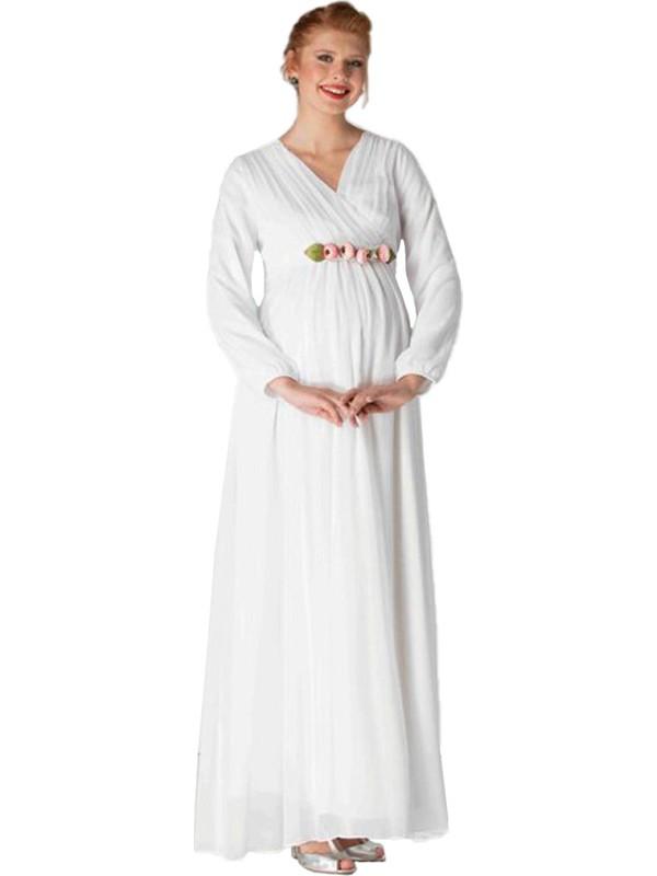 Entarim Şifon Hamile Baby Shower Elbise 6002Ebeyaz