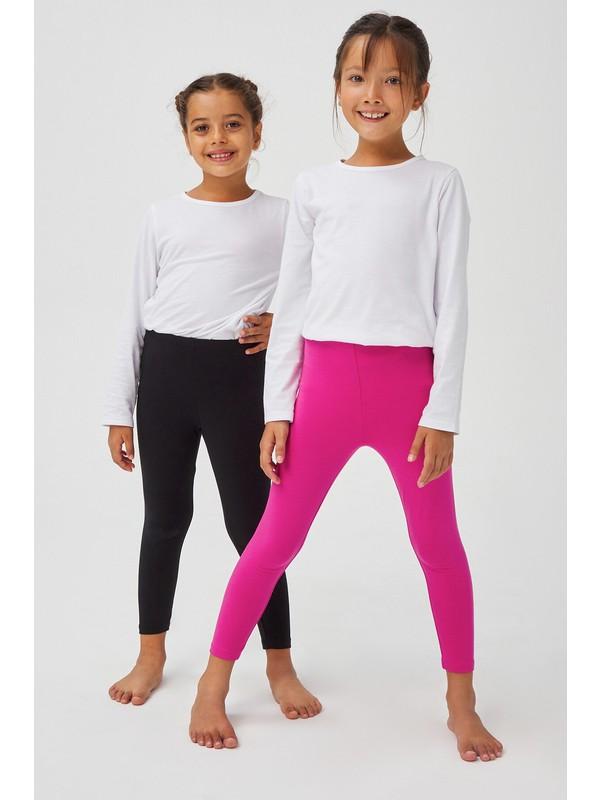 Penti Siyah Pembe Kız Çocuk Basic Tayt 2'lı Set