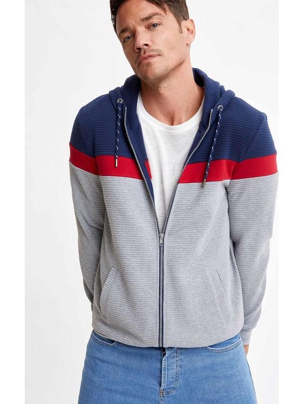 Defacto Erkek Kapüşonlu Blok Desenli Fermuarlı Sweatshirt