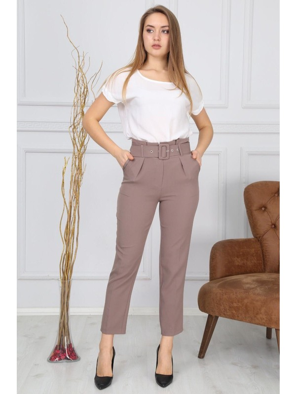 Bluence Beli Kemerli Lila Kumaş Pantolon 38