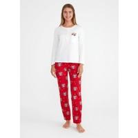 Suwen Koalina Pijama Takımı - Kırmızı Baskılı