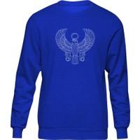 Fandomya Antik Mısır Egypt Teagle Mavi Sweatshirt
