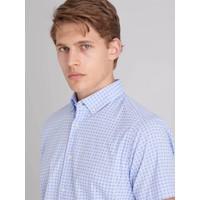 Dufy Mavi Pamuklu Kısa Kol Desenli Erkek Gömlek Regular Fit