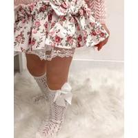 Bebeğime Çorap Fiyonklu File Dizaltı Çorap Kız Çocuk / Kız Bebek