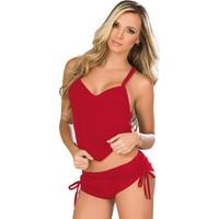 Mite Love Kadın Pijama Kırmızı Şortlu Seksi Takım