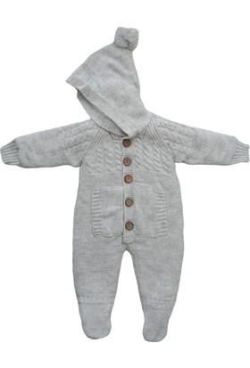 Puppis Baby Ponpon Şapkalı Lüx Welsoft Triko Tulum