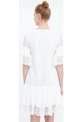 Fever Kadın Kolları Volanlı Güpür Elbise 16014 Beyaz